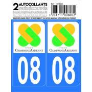 Autocollant département 08 - ARDENNES (x2)