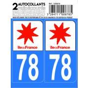 Autocollant département 78 - YVELINES (x2)