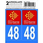 Autocollant département 48 - REGION OCCITANIE (x2)