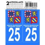 Autocollant département 25 - DOUBS (x2)
